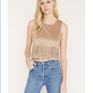 Suede cutout crop top Forever 21 size small